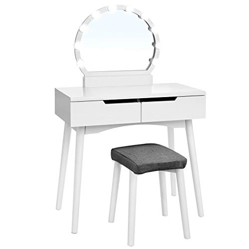VASAGLE Vanity Table Set with 10 Light Bulbs and Touch Switch, Dressing Makeup Table Desk with Large Round Mirror, 2 Sliding Drawers, 1 Cushioned Stool for bedroom, bathroom, White URDT11WL ()