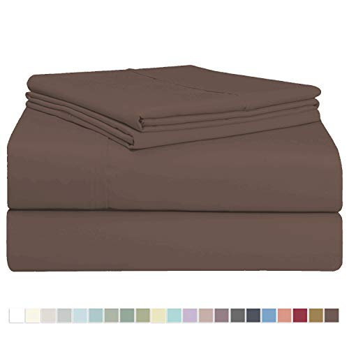 Pizuna 400 Thread Count Sheet Set, 100% Long Staple Cotton Cherry Brown King Sheets Sets, Luxurious Soft Sateen Weave Bed Sheets fit Upto 17