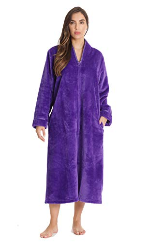 Just Love Textured Plush Zipper Lounger Robe for Women with Pockets