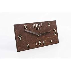 Wooden Wall Clock - Handmade Dark Brown Wall Clock - Rectangular Wall Clock - Modern Wall Clock - Scandinavian Clock - Wall Decor