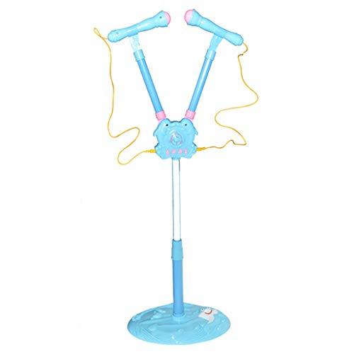 (Livoty Kids Girls Mp3 Karaoke Pink Twin Microphone Adjustable Stand Light Sound Xmas Gifts (Blue))