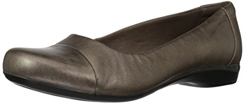 Clarks Women's Kinzie Time Flat,Pewter Leather,11 M US