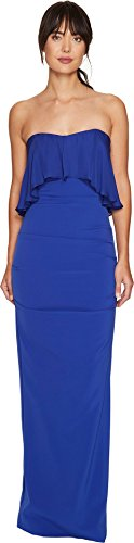 - Nicole Miller Women's Techy Crepe Strapless Gown w/ Flare Blueberry Dress