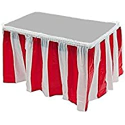 Red & White Striped Table Skirt Carnival Circus Decorations (1)