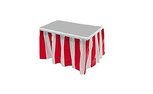 Red & White Striped Table Skirt Carnival Circus Decorations (4) by Playscene