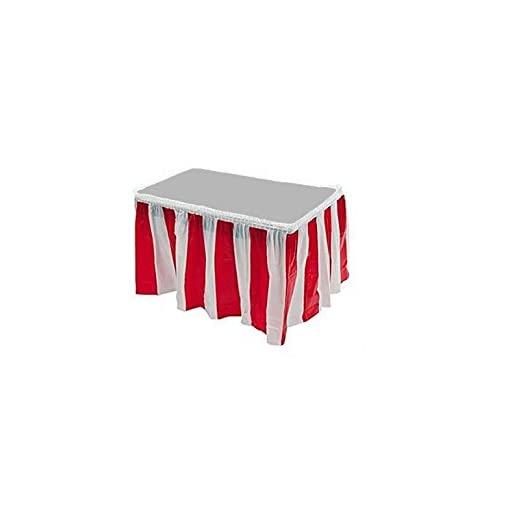 Red & White Striped Table Skirt Carnival Circus Decorations (2 Skirts)