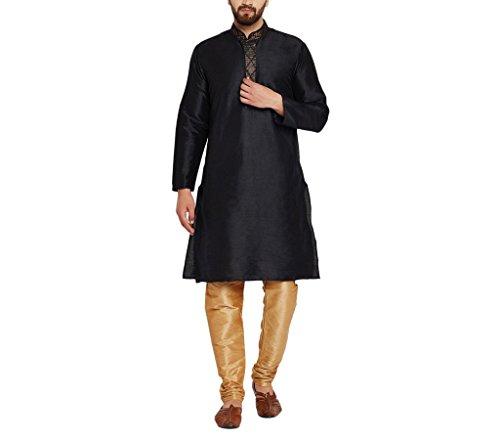 CRAFTSTRIBE Men'S Dupion Silk Kurta & Churidaar Pyjama With Print Design