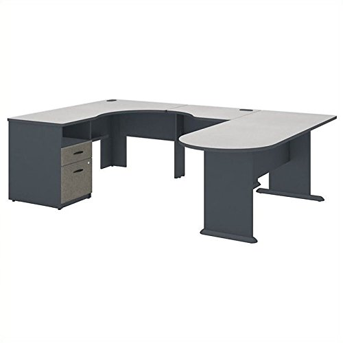 Series A U Shaped Corner Desk with Peninsula and Storage ()