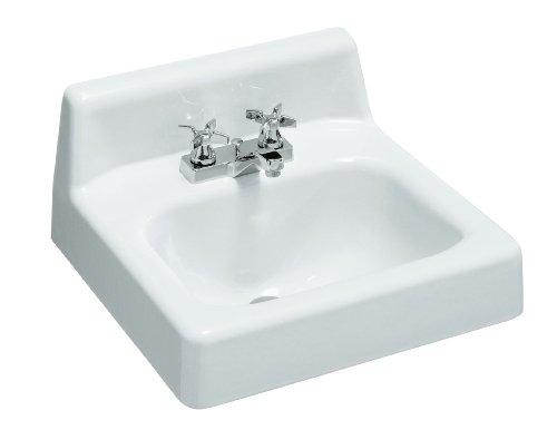 17 Inch Cast Iron Wall Mount - KOHLER K-2861-0 Hudson Wall-Mount Bathroom Sink, 19-Inch X 17-Inch, White
