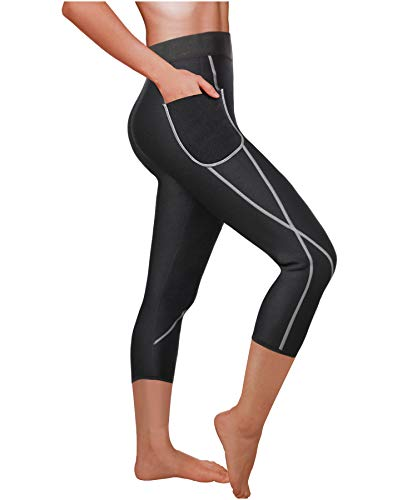 Stripe Charming Lead - Ursexyly Women Sauna Weight Loss Sweat Pant Fashion Design Slimming Neoprene Hot Body Shaper Leggings (Black Capri-Shorter, L)