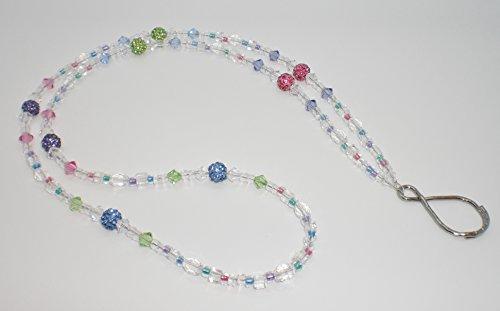 - Tanzanite/Rose/Peridot/Sapphire Bling Ball Beaded Lanyard Badge, Keys, Eyeglass Holder