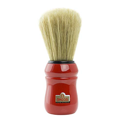 Red handled Omega Professional Boar Hair Shaving Brush