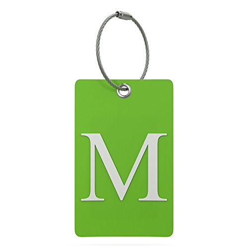 (Luggage Tag Initial - Fully Bendable Tag w/ Stainless Steel Loop (Letter M))