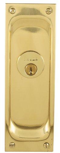 Emtek 2103 7-1/2'' Height Solid Brass Keyed Entry Pocket Door Mortise Lock, Medium Bronze