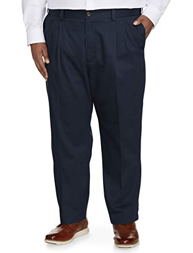 Amazon Essentials Men's Big & Tall Relaxed-fit Wrinkle-Resistant Pleated Chino Pant fit by DXL, Navy, 44W x 32L