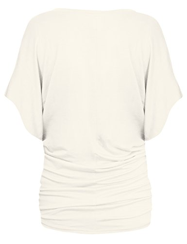 - Womens Boat Neck Dolman Top Shirt KT44130 Ivory Small