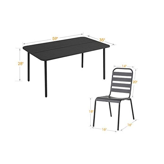 "MF 7 Piece Patio Table and Chairs Metal Outdoor Patio Dining Table Sets with 59"" x 35"" Rectangle Table and 6 Backyard Garden Dining Chairs, Black - Table Size: 59""L x 35""W x 28""H; Slat Chair size: 25.2""D x 22.8""W x 35""H , seat height: 18"", Weight capacity: 300LBS. Outdoor dining table set including 1 black metal rectangle bistro table & 4 backyard chairs. Spacious chair and table comfortable for six or more person family dinner and party. Sturdy wrought iron frame longevity with e-coating needs no special maintenance, rust and weather resistant, bring you years of enjoyment on patio, balcony, or other outdoor area. - patio-furniture, dining-sets-patio-funiture, patio - 31%2BIQhoERbL. SS570  -"