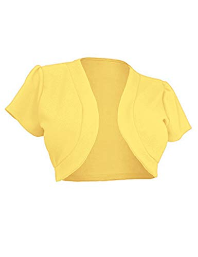 Women Trendy Short Sleeve Shrug Open Cropped Sweater Dress Cardigan(Yellow,XXL)