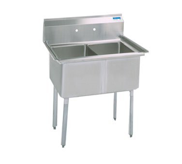 BK Resources Stainless Steel 37'' Wide Two Compartment NSF Sink