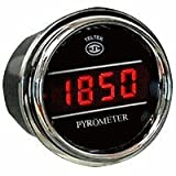Pyrometer Gauge Exhaust Gas Temperature Sensor for Any Semi, Pickup Truck or Car - Gauge Diameter - 2 1/16'' - Bezel: Chrome - LED Color: Red