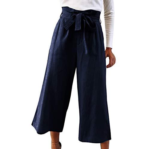 da donna lacci unita casual Pantaloni moda Scuro con stringati Blu tinta Pantaloni donna HAMIQI da alla a larghi qgwURU