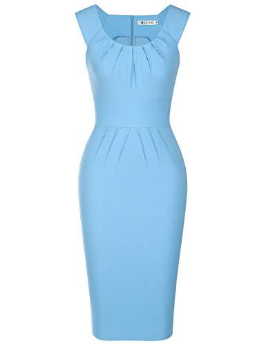MUXXN Women's Sexy Cut Out Neck Mid Length Bridesmaid Summer Light Blue Dress (Airy Blue S)
