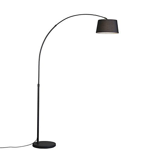 QAZQA Modern Bogenleuchte Arc ECO schwarz mit schwarzen Stoffschirm , Metall, Textil, Rund / LED geeignet E27 Max. 1 x 60 Watt