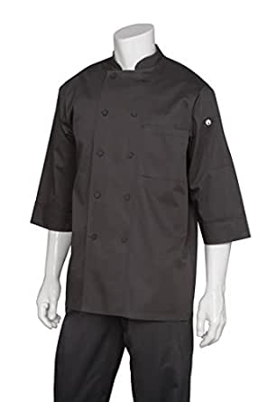 Chef Works Mens Morocco Short Sleeve Chef Coat, Black, X-SMALL