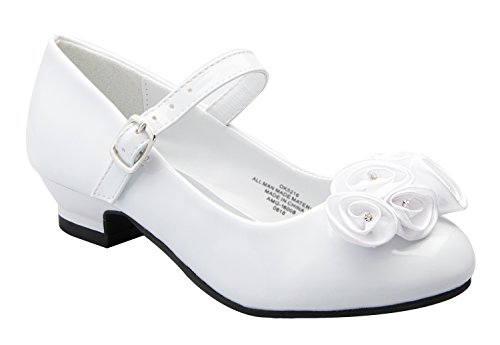 Shoes Girls White Leather (Mary Jane Shoes with Pretty Satin Rolled Rosettes Patent Leather-White-10-(LA5216))