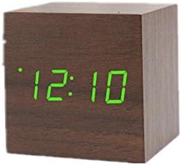 正方形のアラームと木製のLEDの目覚まし時計ホーム寝室のデジタル目覚まし時計の表示日の温度と湿度 (Color : ブラウン)