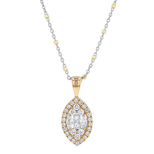 Olivia Paris 14k Yellow Gold Marquise Diamond Pendant Necklace (3/4 cttw, H-I, I1) 16-18