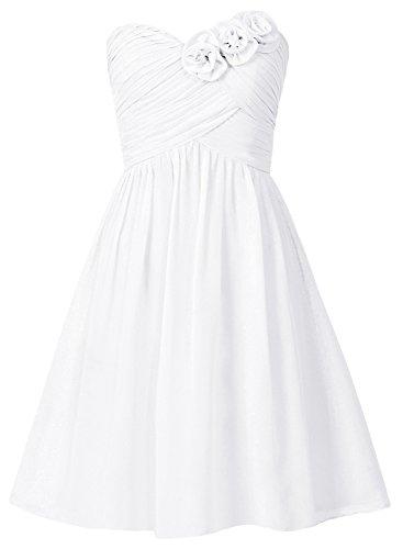 de honor Fiesta Blanco Gasa tirantes Paseo Boda dama Flores Vestidos de Sin Corto Vestidos HUINI xBvzwHCx
