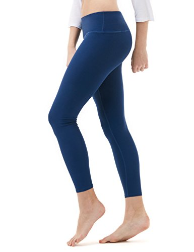 TSLA Women's Mid/High-Waist Tummy Control w Hidden/Side Pocket Yoga Pants, Inner Pocket Thick Midwaist(fyp51) – Navy, Medium (Size 8-10_Hip39-41 Inch)