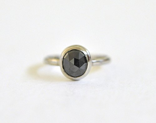 Black-Diamond-Ring-14k-White-Gold-Ring-Alternative-Engagement-Ring-April-Birthstone