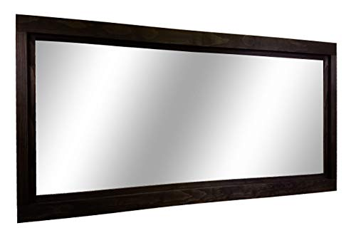 (Farmhouse Large Framed Mirror Available in 5 Sizes and 20 Colors: Shown in Ebony - Vanity Mirror - Rustic Home Decor - Double Vanity Mirror - Over Sink Mirror Wall Mount - Black Frame)