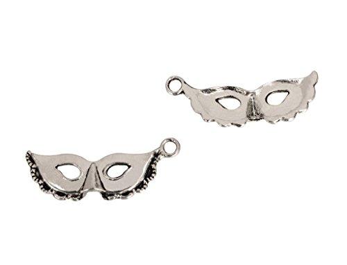 20pcs x Unique Eye Mask Charms 30x10mm Antique Silver Tone #mcz1054