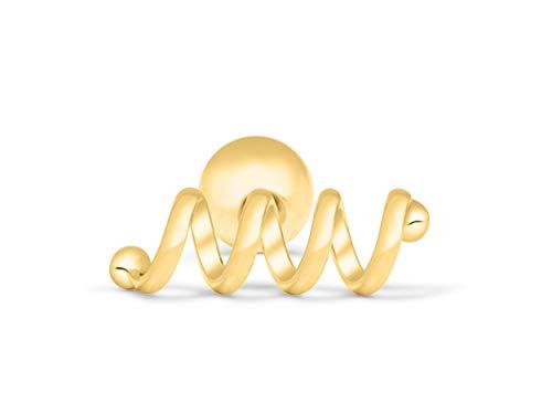 (ONDAISY 14K Gold Plated Stainless Steel Lucky Modern Slim Skinny Spring Line Bar Stick Ear Stud Earring Piercing 16g For Women Girls)