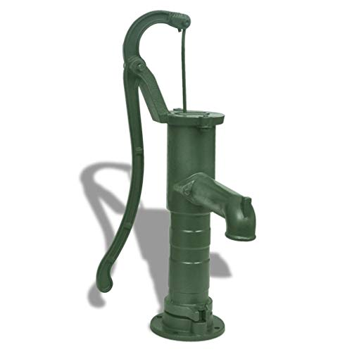 Retrome Cast Iron Garden Hand Water Pump, Hand Water Aspirator with Stand 65 x 40 x 15 cm Green,for Garden,Pond/Pool, Solar Powered Water Feature