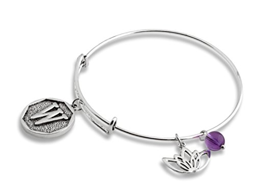 Lotus Amethyst New Beginnings Initial Expandable Wire Bangle Bracelet   Spunkysoul Collection  W