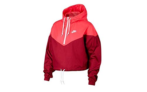 (Nike Womens Heritage Windrunner Track Jacket Team Red/Ember Glow/White AR2511-677 Size Small)
