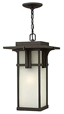 Hinkley 2232OZ-LED Craftsman/Mission One Light Hanging Lantern from Manhattan collection in Bronze/Darkfinish,
