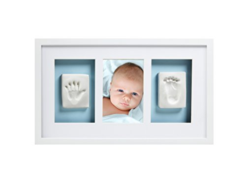 Pearhead Newborn Baby Handprint and Footprint Deluxe Photo Frame & Impression Kit, Wall, White Baby Nursery Photo Frame