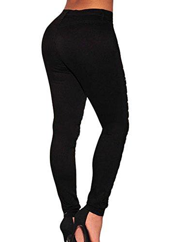 Jeans Denim Pantalons Noir Pantalon Skinny Up Slim Jeans Stretch Dechir Femme Trou Push TUFqPw