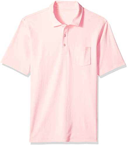 Amazon Essentials Men's Regular-Fit Pocket Jersey Polo, Light Pink, ()