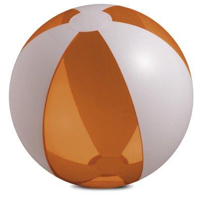 Pelota hinchable para la playa, diámetro aprox. 25 cm, color blanco y naranja transparente