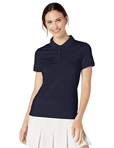 Amazon Essentials Women's Short-Sleeve Performance Polo, Navy, M