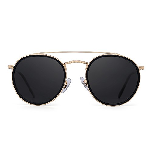 Round Polarized Aviator Sunglasses Metal Frame Flat Circle lens Glasses Men Women (Gold Alloy Black Tip / Polarized - Bar Brow Sunglasses