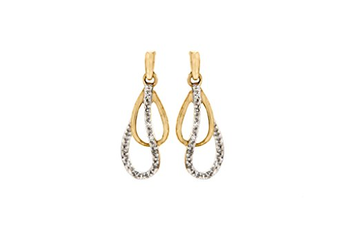 9 ct or jaune Diamant Double Boucles d'oreilles en forme de larme