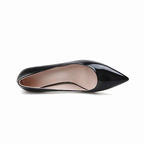 Geschlossen Shoes spitz Schwarz Mee chunky heels Damen Pumps nPUxdqX