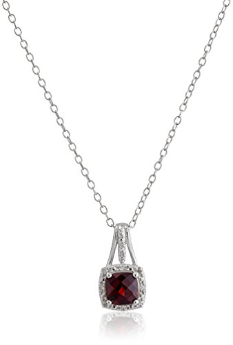 Sterling Silver Cushion Garnet and Diamond Accent Pendant Necklace, 18